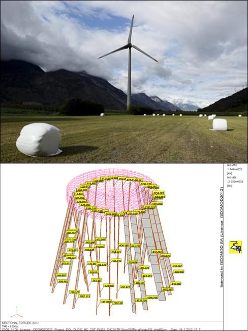 Fondations sur pieux d'une éolienne